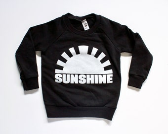 SUNSHINE, sweatshirt, tops, clothing, boys, girls, handprinted, black and white, sunshine, modern kids clothes, unique gifts for kids