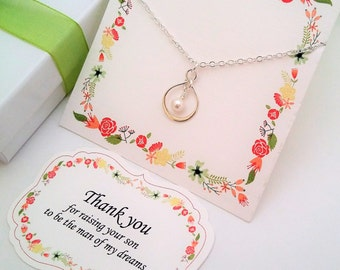MOTHER Of The GROOM Gift from Bride Silver Infinity Necklace Mother in Law Gift Mother of Groom Thank you for Raising the Man of my Dreams