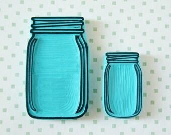 Vintage jar stamp, hand carved, vintage jar, wedding invitation, glass jar with initials, rubber stamp, mounted