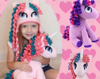 Stuffed Unicorn Toy / Stuffie / Softie / Doll Crochet Pattern (PDF FILE)- Hat Pattern Sold Separately!