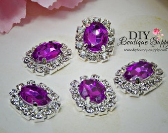 Small Oval Purple Lavender Crystal buttons Rhinestone Buttons  Embellishment flatback Bridal Accessories Hair Bow flower centers 20mm 914040
