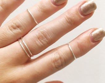 Set of 3 Silver Rings - Silver midi rings - Knuckle rings - Silver rings - Stacking rings