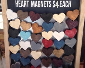 Repurposed scrap wood heart magnets
