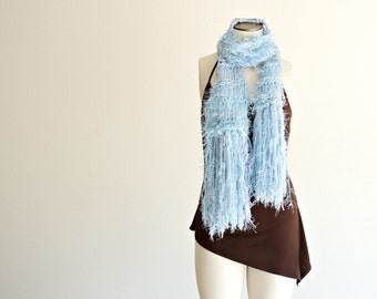 Light Blue Scarf, Blue Women Scarf, Pale Powder Blue Scarf with Fringe, Hand Knit Baby Blue Scarf