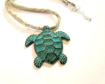 Sea Turtle Necklace, Vegan Necklace, Verdigris Pendant Necklace, Jute Necklace, Beach Necklace, Unisex Choker Necklace, Turtle Gifts