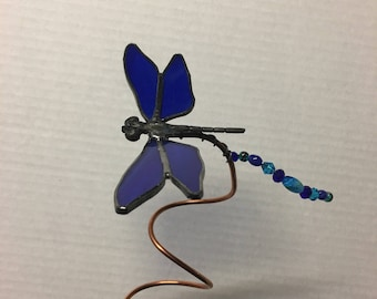 Stained glass dragonfly garden plant stakes.