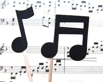 24 Music Notes Cupcake Toppers, Party Decor, Weddings, Showers, Birthdays, Graduation, Celebrations, Double-Sided, Black
