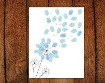 Dandelion Thumbprint Guestbook  Printable PDF