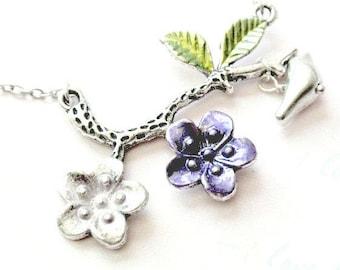 Bird Pendant Necklace, Branch Necklace, Bird Necklace, Flower Necklace
