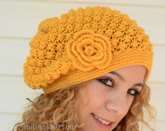 Hand Knitted Hat, Mustard Hat, Slouchy Hat, Beret, Ribbed, Chunky, Yellow Hat, Beanie, Painter Hat