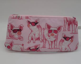 Pigs in Glasses, Pigs Bags, Pig Travel Case, Pigs Clutch, Makeup Bag, Cosmetics Clutch, Pigs Go Bag