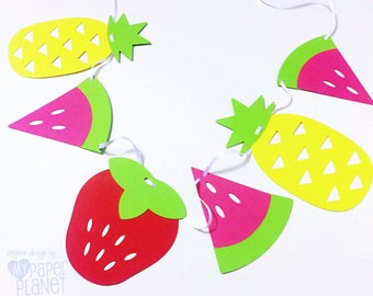 Tutti Fruitti Party Banner. Strawberry, watermelon, pineapple. Baby shower, party decor, birthday party, summer, fruit, bunting, garland.