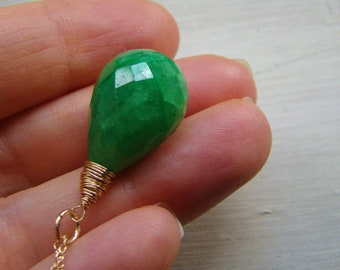Natural Green Indian Emerald pendant Necklace. Emerald drop. Greenery Jewelry.  Gold silver or rose gold.