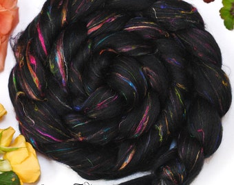 FIREWORKS - Signature Custom Blend Black Merino and Recycled Sari Silk Combed Top Wool Roving for Spinning or Felting - 4 oz