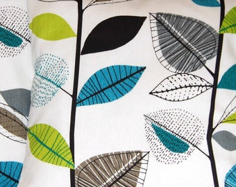 blue lime green grey leaves cushion covers, 14 inch (35 cm) small decorative pillow covers