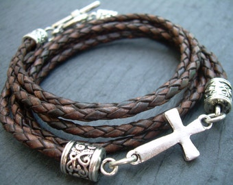 Men Leather Bracelet Mens Bracelets Leather Cross Bracelet Braided Leather Bracelet Religious Gift Womens Bracelet Faith Fathers Day
