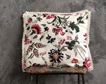 Linen floral pillow with lace- Softened linen antique white boudoir lumbar cushion- decorative trimmed pillow