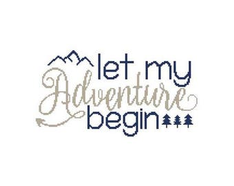 Let My Adventure Begin Counted Cross Stitch PDF Pattern