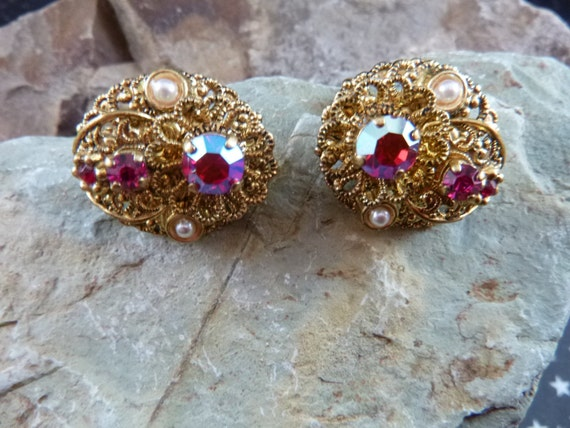 Mid Century West Germany Old World Style Filigree Clip On Earrings with Aurora Borealis Rhinestones and Faux Pearl Accents