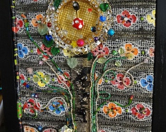 NEW LOWER PRICE    SecretGardenflowers  bead loomed found objects painted lace