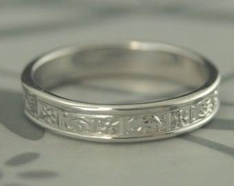 Gold Wedding Band~Athena~White Gold Band~Gold Wedding Ring~Women's Wedding Ring~Vintage Style Band~Greek Wedding Band~Greek Wedding Ring