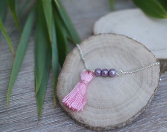 Bracelet beads purple and pink tassel