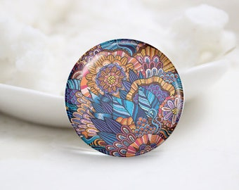 Handmade Round Floral Photo Glass Cabochons (P3741)