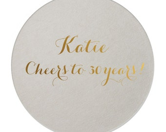 Personalized Cheers to 30! Coasters