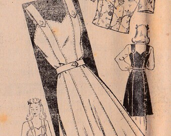 RARE 1940s Mail Order 3763 Misses' Jumper and Bolero Vintage Sewing Pattern, Long or Short Sleeve Jacket Size 14, Bust 32, UnPrinted