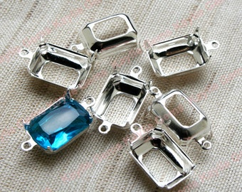 14x10 Ocatong Prong Setting Sterling Silver Plated Open Back 1 Ring / 2 Ring - 6pcs