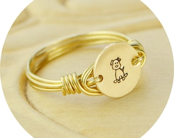 Gold Dog Ring- Hand Stamped Gold Filled Tiny Ring- Any Size- Size 4, 5, 6, 7, 8, 9, 10, 11, 12, 13, 14