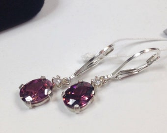BEAUTIFUL 4ctw Oval Cut Raspberry Rhodolite Garnet Earrings White Sapphire Sterling Silver Jewelry Trends Garnet Jewelry Gift Mom Wife 9x7