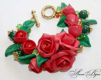 SALE 30% Polymer clay jewelry. Handmade polymer clay flower bracelet.