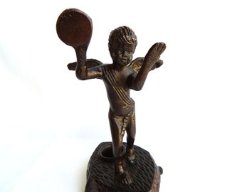 Antique Cherub Angel Candlestick Holder - Bronze Cast Iron - Sculpture Statue Figurine - Home Decor French German Victorian Extremely Unique