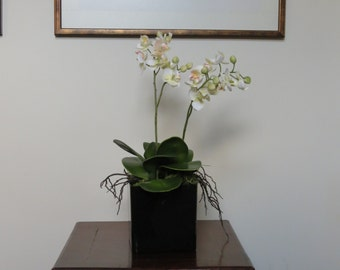 Small double stemmed silk orchid plant