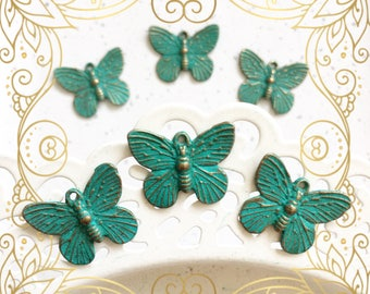 Handpainted Verdigris Patina Butterfly Metal Charms (18018) - 18x15mm