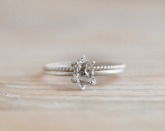 Herkimer diamond sterling silver ring, Quartz crystal nugget engagement or bridal ring
