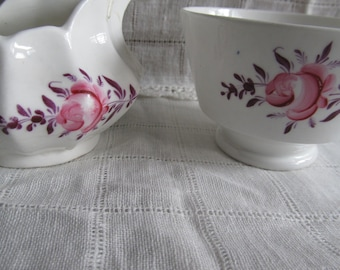 SALE Very Old Antique, Victorian 1800's Hand Painted Pink Rose Creamer And Sugar Set, Collectors Was 24.99 Now 21.99