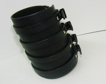 Wide Black Leather Wristband Cuff
