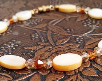 Amber Mother of Pearl and Swarovski Bracelet