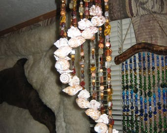Spiral Windchime w/Seashells,crystals,&stones..also'Tiger beads..'handmade by me'