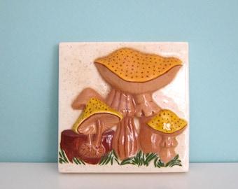 Mushroom Plaque Ceramic 1970's  Mushroom Art