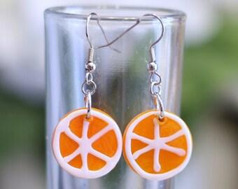 Orange Slice Glass Lampwork Bead Earrings - round orange circle fruit slice charm earrings are perfect for your halloween costume