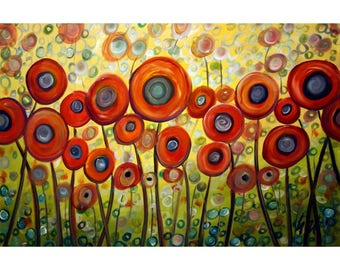 RED POPPIES Whimsical Flowers Painting on Canvas  Yellow, Green, Gray Colorful Art by Luiza Vizoli 72x36 or 60x36