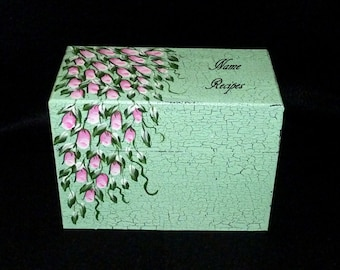 Recipe Box Pink Roses Personalized Hand Painted Wood Wedding Recipe Card Box Mint Green Shabby Chic Wedding Bridal Shower Gift Ready To Ship