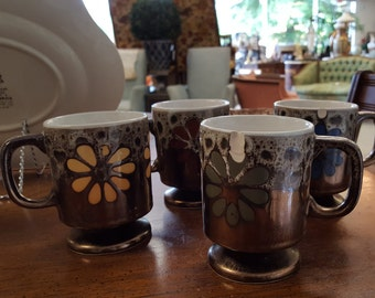 4 Brown Mug Set
