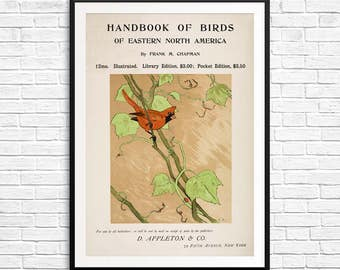 Vintage book covers, book cover art, bird books, bird prints, cardinal bird art, large book prints, large book posters, birdwatcher gifts