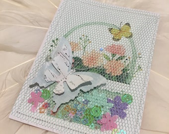 Green - TULLE SHAKER CARD featuring Butterflies and Flowers - for Travelers Notebooks, Planners, and Journals