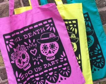 Day of the Dead Hand Printed Cotton Tote Bag - Canvas Shopping bag, cotton bag, reusable bag, Screen Print, Skull bag