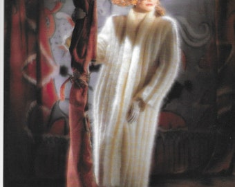 Mohair Coat Knitting Pattern  - PDF pattern download for RETRO Forties Style Long Coat - 2 sizes